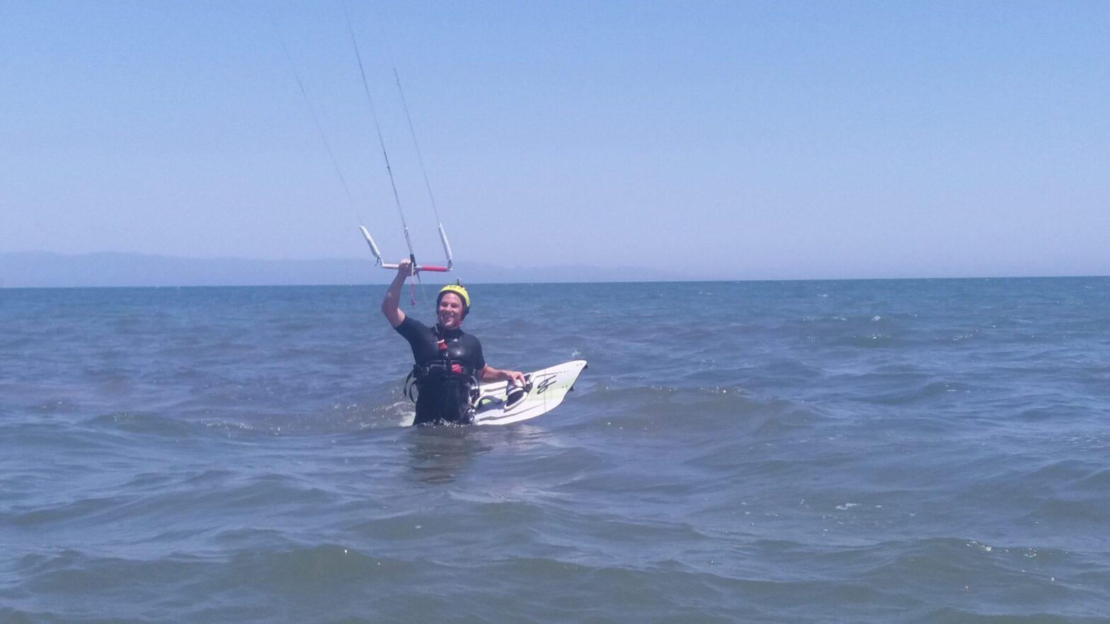 Kitesurfing La Maddalena Spiaggia Sardinia: Sardinia Kitesurfing Lessons in Petrol Beach with KiteGeneration